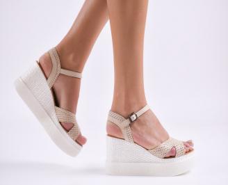 Дамски сандали на платформа естествена кожа  бежови JFRE-27486