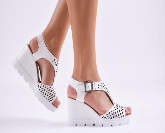 Дамски сандали на платформа естествена кожа бели TXYF-27487