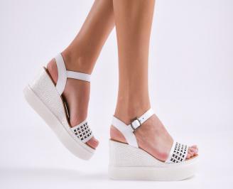 Дамски сандали на платформа естествена кожа бели BTUZ-27491