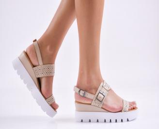 Дамски сандали на платформа естествена кожа  бежови SJND-27492
