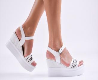 Дамски сандали на платформа естествена кожа бели KSOK-27494