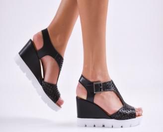 Дамски сандали на платформа естествена кожа черни IFIJ-27499