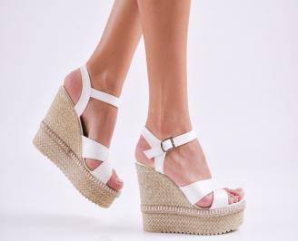 Дамски  сандали на платформа  еко кожа бели MTEB-27530