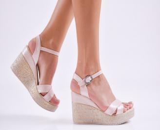 Дамски  сандали на платформа  еко кожа пудра OAJV-27531