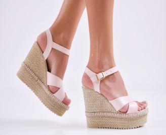 Дамски  сандали на платформа  еко кожа пудра YATK-27532