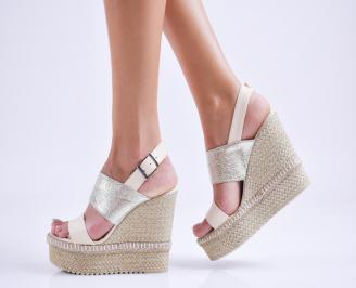 Дамски  сандали на платформа  еко кожа бежови QCRG-27536