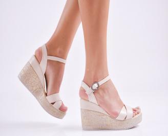 Дамски  сандали на платформа  еко кожа бежови TRVS-27541