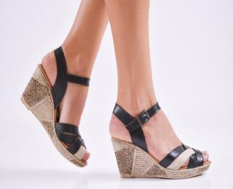 Дамски  сандали на платформа  естествена кожа черни GGRU-27545