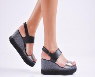 Дамски  сандали на платформа  естествена кожа черни GYFU-27546