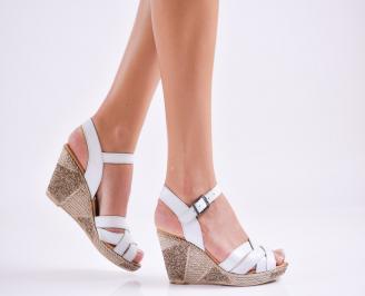 Дамски  сандали на платформа  естествена кожа сини CBKL-27547