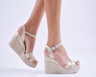 Дамски  сандали на платформа  еко кожа бежови PEBV-27549