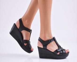 Дамски  сандали на платформа  естествена кожа черни FYNY-27550