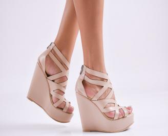 Дамски  сандали на платформа  еко кожа бежови VJGZ-27552
