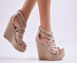 Дамски  сандали на платформа  набук бежови SLXW-27555