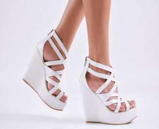 Дамски  сандали на платформа  еко кожа бели VMLZ-27556