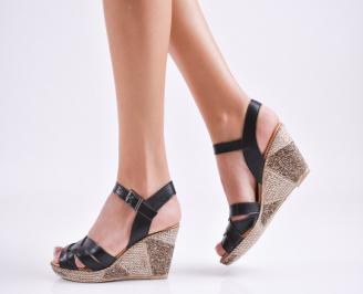 Дамски  сандали на платформа  естествена кожа черни CKDT-27564