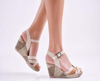 Дамски  сандали на платформа  естествена кожа бежови ZOGX-27565