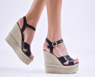 Дамски  сандали на платформа  еко кожа черни XRSU-27566