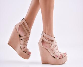 Дамски  сандали на платформа  набук пудра FZOF-27567