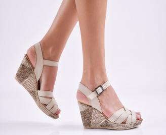 Дамски  сандали на платформа  естествена кожа бежови OMWX-27568