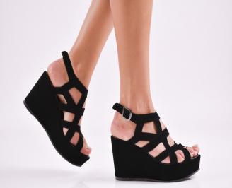 Дамски  сандали на платформа  еко кожа черни NCGG-27569