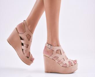 Дамски  сандали на платформа  набук розови FVCY-27570