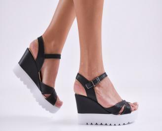 Дамски  сандали на платформа  еко кожа черни IBDN-27585
