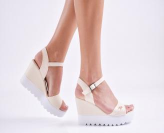 Дамски  сандали на платформа  еко кожа бежови ZIJG-27593