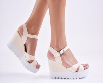 Дамски  сандали на платформа  еко кожа бежови VUPS-27594