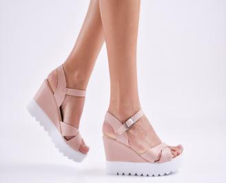 Дамски  сандали на платформа  еко кожа пудра IMIK-27597