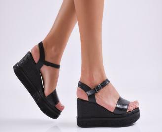 Дамски  сандали на платформа  естествена кожа черни HSDC-27606