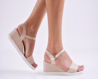 Дамски  сандали на платформа  естествена кожа бежови HIMI-27607
