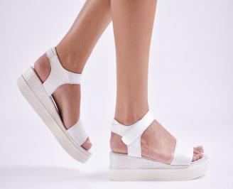 Дамски сандали на платформа естествена кожа бели QQIJ-27623