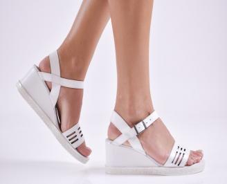 Дамски сандали на платформа естествена кожа бели FZXU-27625