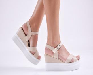 Дамски  сандали на платформа  естествена кожа бежови QRVF-27626