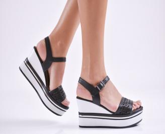 Дамски сандали на платформа естествена кожа черни SKMJ-27627