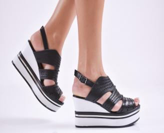 Дамски сандали на платформа естествена кожа черни OAPO-27629