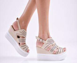 Дамски  сандали на платформа  естествена кожа бежови USRV-27634