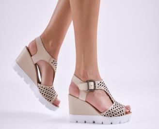 Дамски  сандали на платформа  естествена кожа бежови PIIL-27639