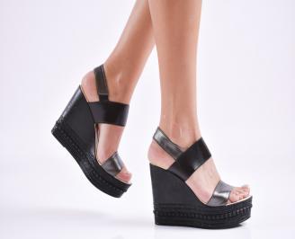 Дамски  сандали на платформа  еко кожа черни PWYA-27645
