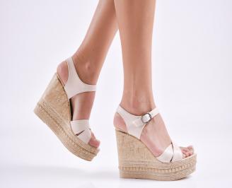 Дамски  сандали на платформа  еко кожа бежови BAOS-27647