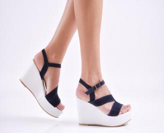 Дамски  сандали на платформа  набук сини OOVX-27648