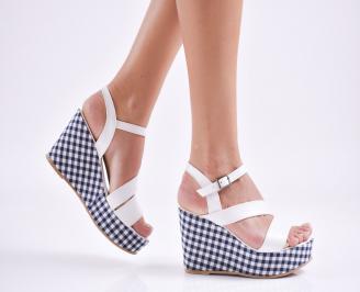 Дамски  сандали на платформа  еко кожа бели IYIH-27650
