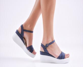 Дамски  сандали на платформа  еко кожа сини XGOG-27652