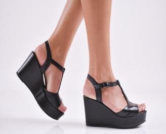 Дамски  сандали на платформа  еко кожа черни DRAE-27654