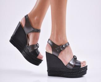 Дамски  сандали на платформа  еко кожа черни MQFX-27657