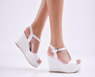 Дамски  сандали на платформа  еко кожа бели KAVY-27661