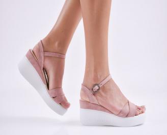 Дамски  сандали на платформа  еко кожа розови CYAC-27664