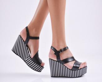 Дамски  сандали на платформа  еко кожа черни GOEB-27666