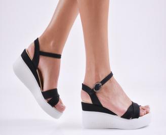 Дамски  сандали на платформа  еко кожа черни VECT-27667